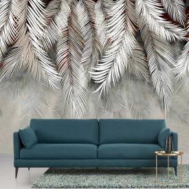 Fototapet, frunze de palmier în nuanțe reci