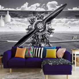Fototapet, Imagine alb-negru a unui avion retro