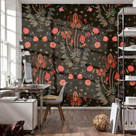 Fototapet, Imprimu floral roșu pe fundal negru