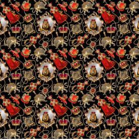 Fototapet,Leul pe un fundal negru cu coroane aurii și roșii