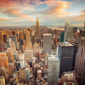 Fototapet Orase, Orașul vestit la apus de soare