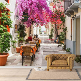 Fototapet, Priveliște la terasa cu copaci roz