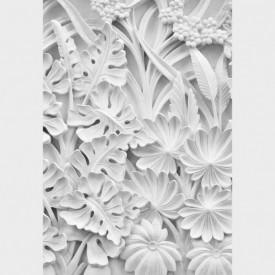 Fototapet, Sculptură cu frunze și flori de culoare albă