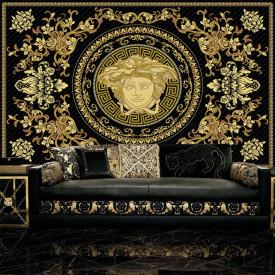 Fototapet, Semn Versace pe un fundal negru cu elemente aurii