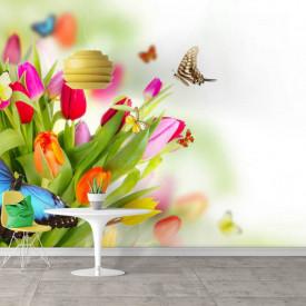Fototapet, Un buchet de lalele și fluturii multicolori