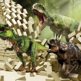 Fototapete 3D, Dinozauri verzi pe fundalul unui zid de cărămidă spart