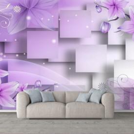 Fototapete 3D, Flori violete pe fundal 3D