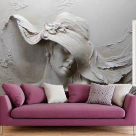 Fototapete 3D, Sculptura unei doamne cu pălărie în culori acromatice