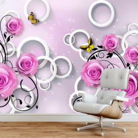 Fototapete 3D, Trandafiri de cuolarea violet și fluturi pe un fundal 3D