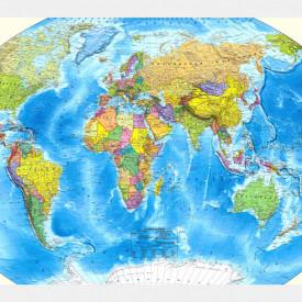 Fototapete, Harta albastră a lumii sub formă de sferă