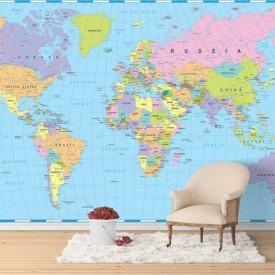Fototapete, Harta lumii în culori albastre