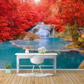 Fototapete, O cascadă pe fundalul unor plante cu frunzele roșii