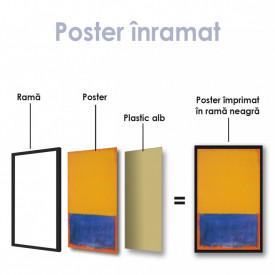 Poster, Galben, albastru, portocaliu