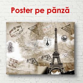 Poster, Hartă retro cu Turnul Eiffel