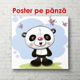 Poster, Panda cu fluturi pe un fundal de primăvară