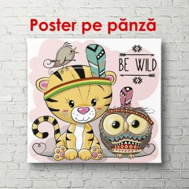 Poster, Pui de tigru și bufniță pe un fundal roz