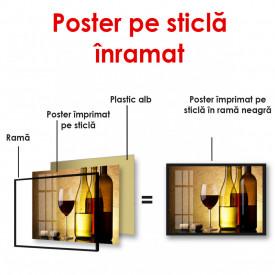Poster, Un pahar și o sticlă de vin pe un fundal galben