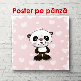 Poster, Ursul panda pe un fundal roz