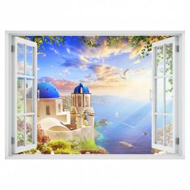 Stickere pentru pereți, Fereastra 3D cu vedere spre o casă minunată pe malul mării