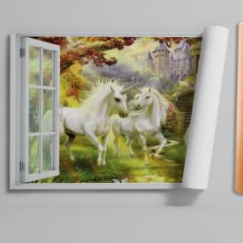 Stickere pentru pereți, Fereastra cu vedere spre o grădină cu unicorni