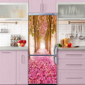 Stickerele decorative, pentru uși, Aleea cu flori roz, 1 foaie de 80 x 200 cm