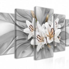Tablou modular, Crini albi pe un fundal volumetric