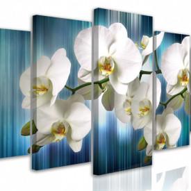 Tablou modular, Orhidee albă pe fundal albastru