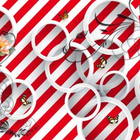 Fototapet 3D, Cercuri albe pe un fundal roșu în dungi