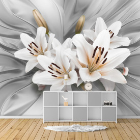 Fototapet 3D, Crini albi pe fundal gri tridimensional