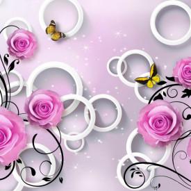 Fototapet 3D, Fantezie cu trandafiri violet și fluturi
