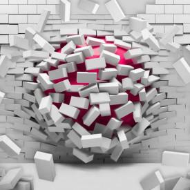 Fototapet 3D, Fantezie cu un zid care se dărâmă