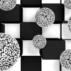 Fototapet 3D, Model abstract cu sfere și cuburi