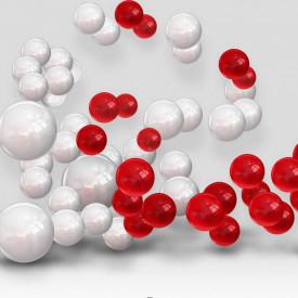 Fototapet 3D, Sfere albe și roșii