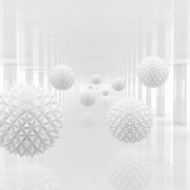 Fototapet 3D, Sfere cu țepi pe un fundal alb