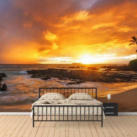 Fototapet, Apusul soarelui pe plajă