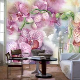Fototapet Botanica, Orhidee roz acuarelă pe fond delicat