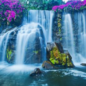 Fototapet, Cascadă pe fundalul unor pietre mari și a unor floril violet