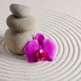 Fototapet, Cercuri pe nisip și o orhidee violet