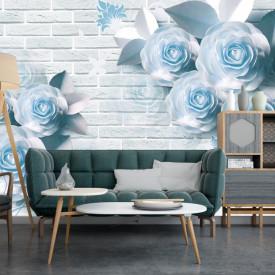 Fototapet Fantezie, Flori albastre pe un fond de cărămidă albă