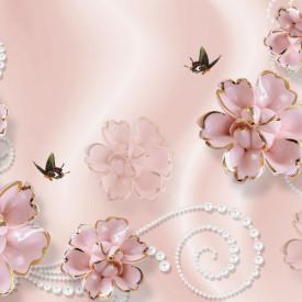 Fototapet Fantezie, Flori de culoare roză cu fluturi pe un fond roz