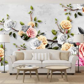 Fototapet Fantezie, Flori de primăvară multicolore pe o ramură pe un fond unui perete gri