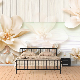 Fototapet Fantezie, Flori de primăvară pe un fond de lemn