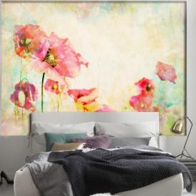 Fototapet, Flori de maci pictați în acuarelă pe un fond pal