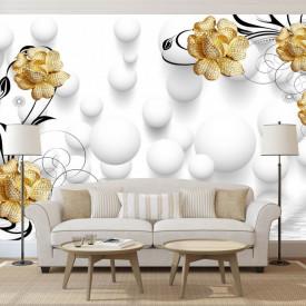 Fototapet, Flori galbene cu baloane albe pe fundal gri