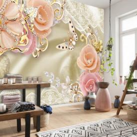 Fototapet, Flori roz pe un fundal bej delicat