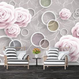 Fototapet, Flori roz și cercuri albe pe un fundal bej