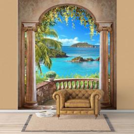 Fototapet Fresco, Fototapete cu un balcon arcuit și peisaje de pe plajă