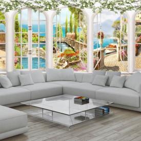 Fototapet Fresco, Fototapete cu vederea din ferestrele albe arcuite spre lac