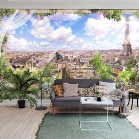 Fototapet Fresco, Frumoasă vedere la fereastră la Paris
