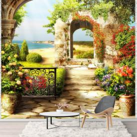 Fototapet Fresco, Grădina frumoasă cu un perete arcuit